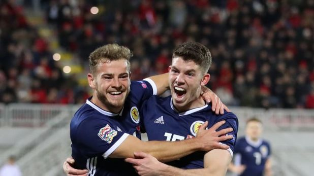 Ryan Fraser (L) celebrates scoring with team-mate Ryan Christie
