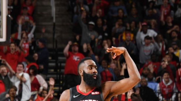 James Harden celebrates after draining a three-pointer