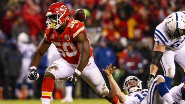 Dee Ford strip-sacked Andrew Luck to give Kansas City the ball back in the second half