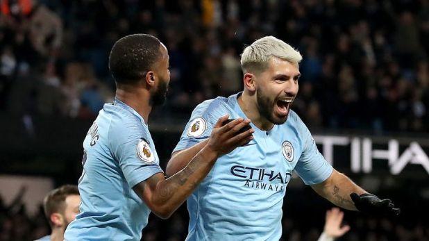 Sergio Aguero celebrates his hat-trick goal as City beat Arsenal 3-1