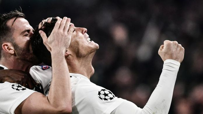 Cristiano Ronaldo celebrates during Juventus's fine comeback against Atletico Madrid