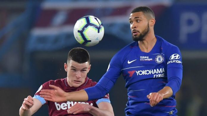 Rice battles with Ruben Loftus-Cheek during West Ham's 2-0 defeat at Stamford Bridge on Monday