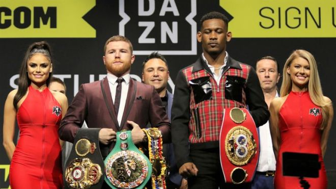 The WBC, WBA 'Super' and IBF titles are at stake in Las Vegas