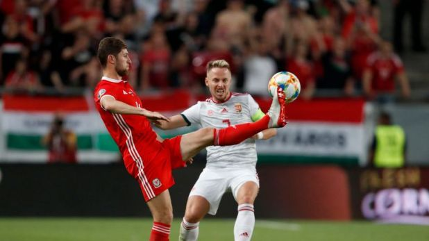 Ben Davies battles to keep hold of possession in the defeat to Hungary