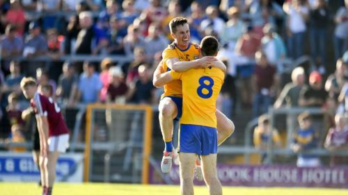 Eoin Cleary and Gary Brenna celebrate at full-time