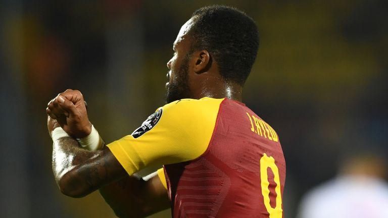 Jordan Ayew celebrates scoring for Ghana against Benin