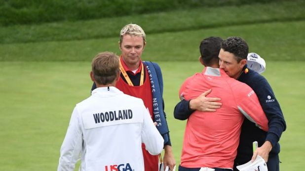 Rose congratulates Gary Woodland on his US Open victory