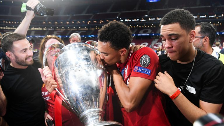 Alexander-Arnold celebrates Liverpool's Champions League win in May