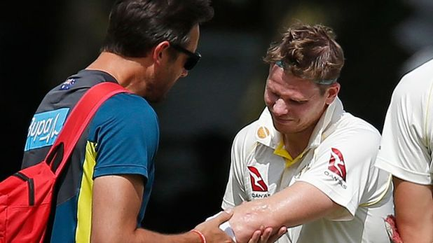 Smith was also hit on the forearm during a blistering spell from Archer