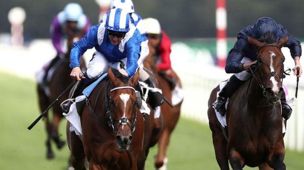 Enbihaar ridden by Jim Crowley (left) wins the DFS Park Hill Stakes