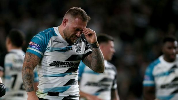 Hull FC's Josh Griffin looks dejected as his side's play-off hopes faded