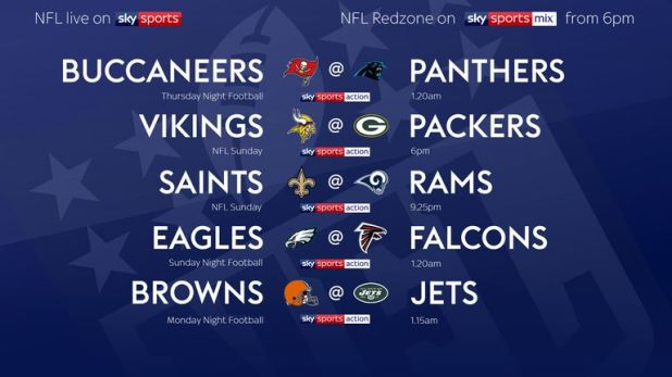 Your NFL fixtures for Week Two