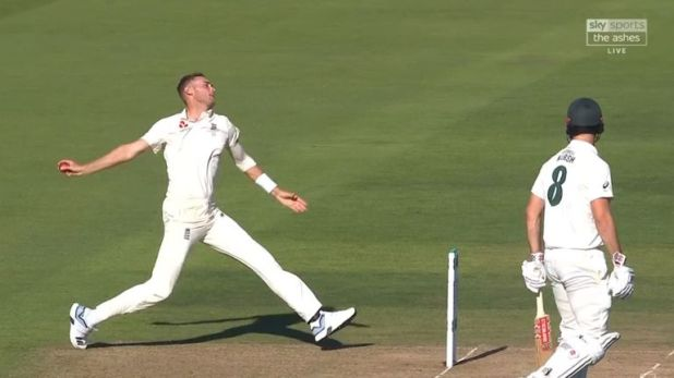 England's Stuart Broad delivers the ball to Steve Smith from well behind the stumps on day two of the fifth Ashes Test