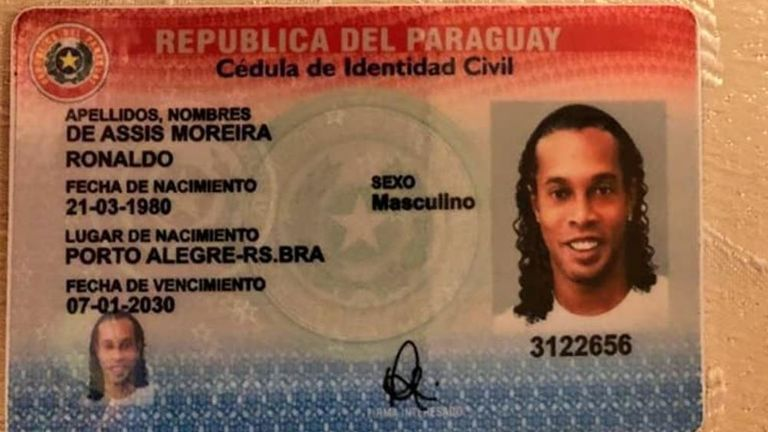 Photograph of a Paraguayan ID document shared by the Paraguayan authorities on Facebook bearing the name 'Ronaldo' (Pic: Fiscalia Paraguay)
