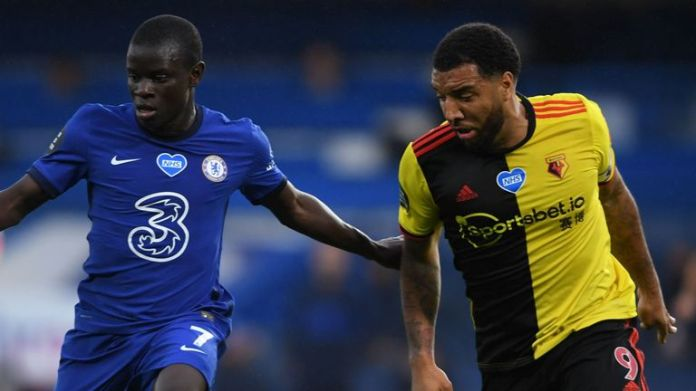 N'Golo Kante is challenged by Troy Deeney at Stamford Bridge