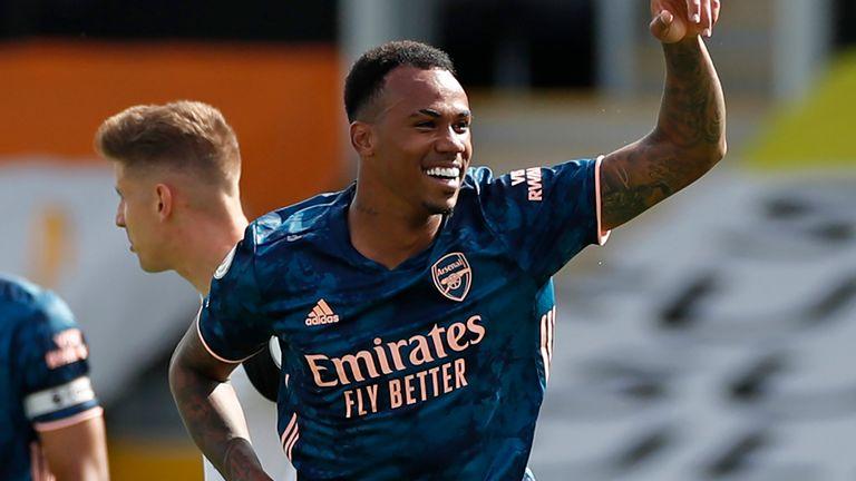 Gabriel celebrates after scoring for Arsenal on his Premier League debut