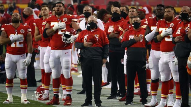 Kansas City remained on the field for the national anthem while the Houston Texans chose to remain in the locker room