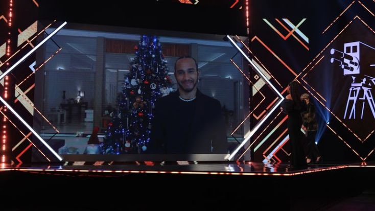 Lewis Hamilton joined the awards ceremony via video link