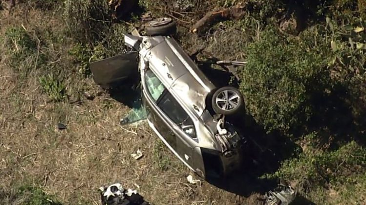 Woods, 45, suffered several injuries in the single-car crash
