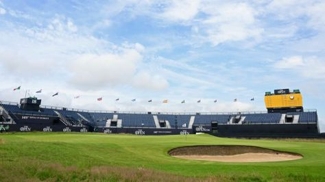 The 18th green at Royal St George's ahead of The 149th Open