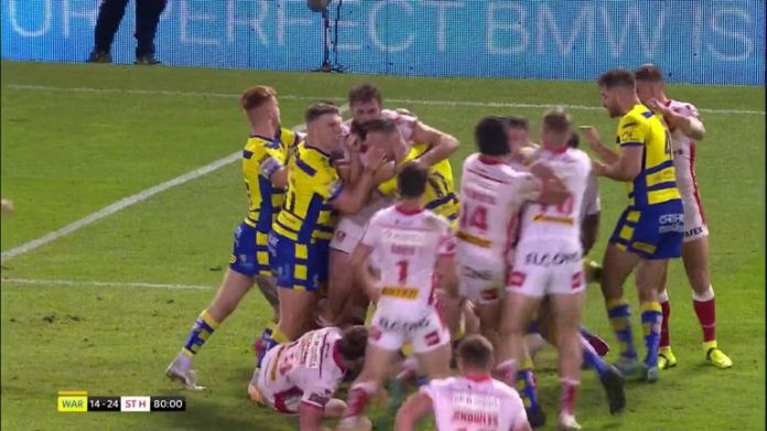 Gareth Widdop and James Bentley both got sent to the stands after an altercation between the two in St Helens' 24-14 win at Warrington in Super League