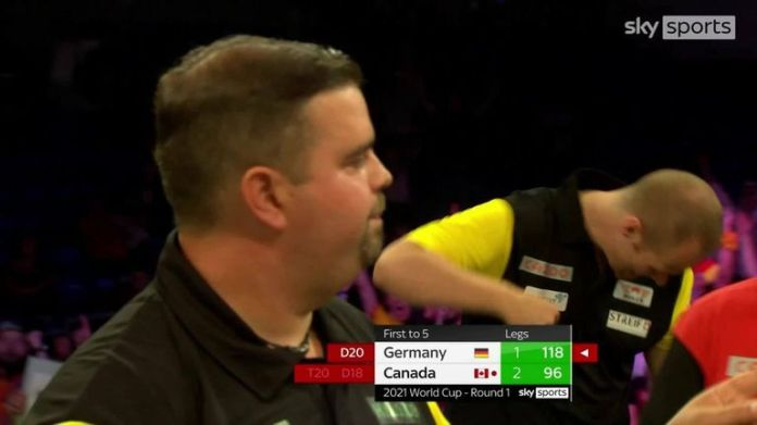Both Philippines and Austria hit 100+ finishes in the opening legs of their match in the World Cup of Darts.
