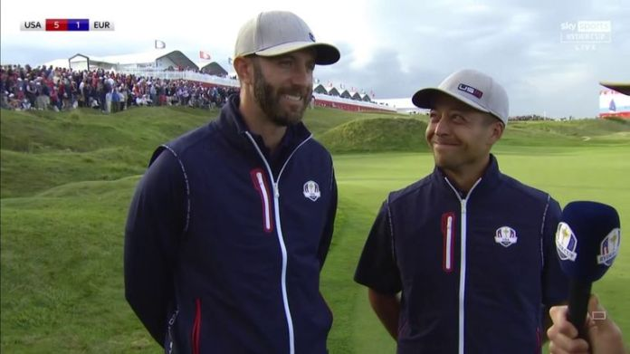 Dustin Johnson reflects on extending his unbeaten start to the Ryder Cup alongside Xander Schauffele and praises his playing partner for their victory over Paul Casey and Bernd Wiesberger
