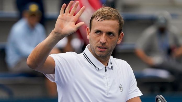 Dan Evans pushed through a tough two-setter against South African Kevin Anderson to book an all-British second round match with Cameron Norrie (AP Photo/John Minchillo)
