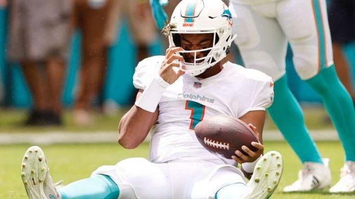 Miami Dolphins quarterback Tua Tagovailoa left their 35-0 blowout loss to the Buffalo Bills due to a rib injury