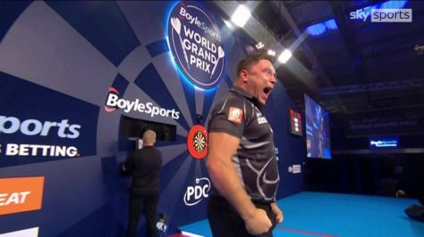 Gerwyn Price hit a tidy 104 finish to go two sets up against Dave Chisnall in the quarter-final of the Grand Prix.