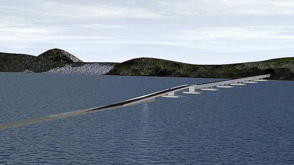 <b>SOGNEFJORDEN:</b> Reintertsen og Dr.Tehcn. Olav Olsen vant konkurransen om det beste alternativet for en rørbro for kryssing av Sognefjorden.