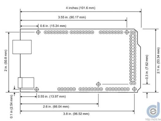 Arduino Mega2560 R3 尺寸圖