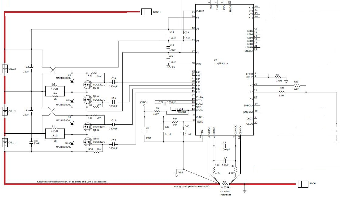 Schematic regarding Battery Balancing using bq78PL114