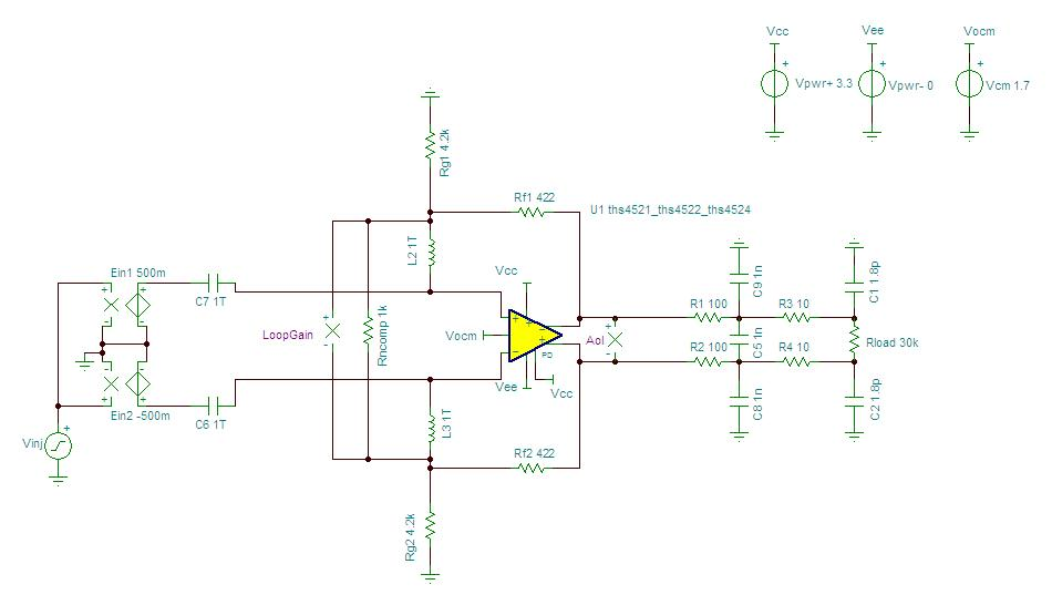 [Resolved] Stability of Differential op.amp with Gain