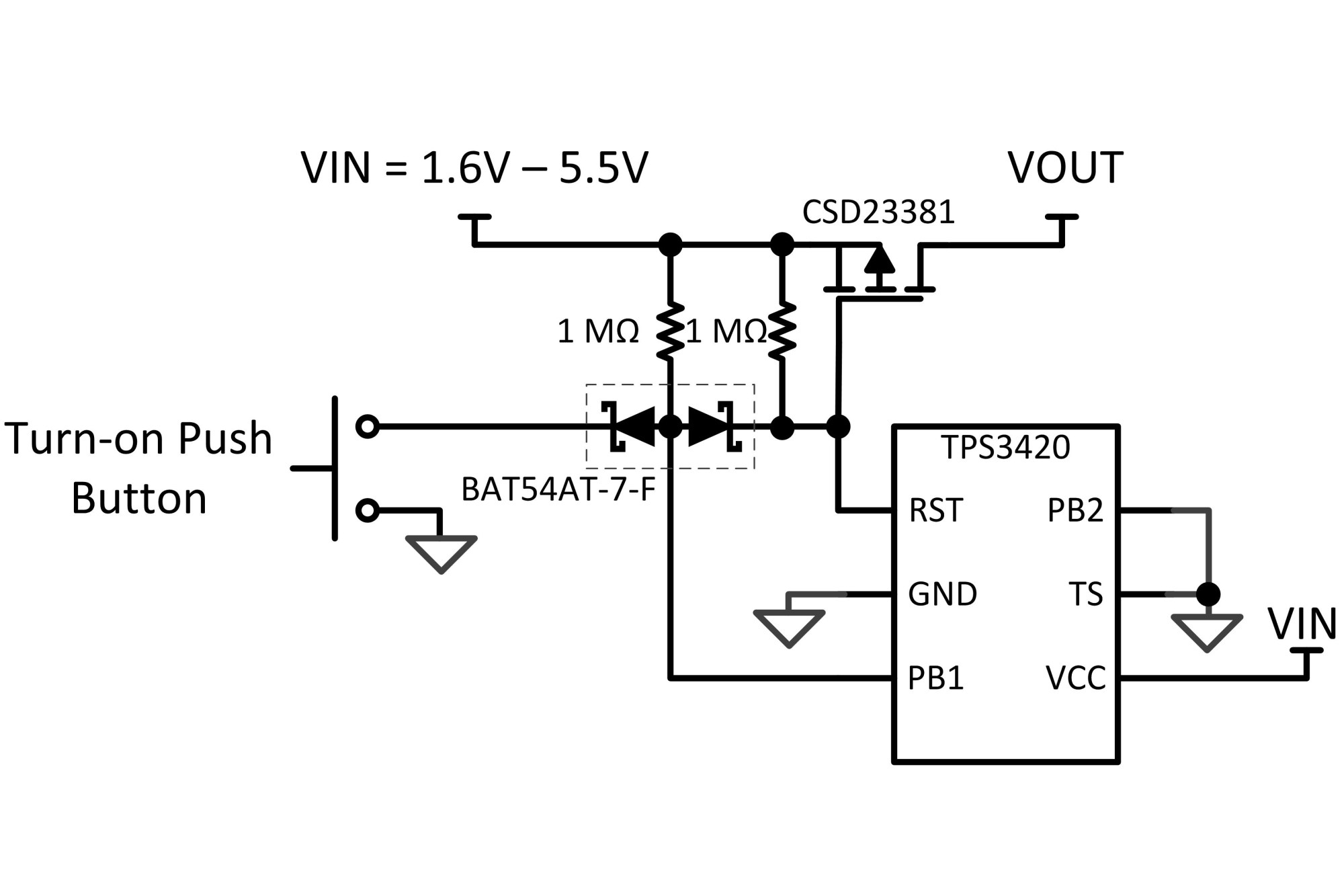 hight resolution of  basic latch by enabling the load with a button push of 7 5 seconds utilizing texas instrument s tps3420 push button controller to turn on the switch
