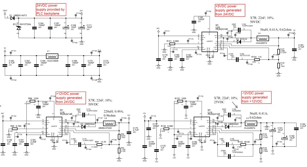 medium resolution of i have made a board using different lm25575 to manage the power supplies from a plc backplane providing 24vdc as shown herebelow