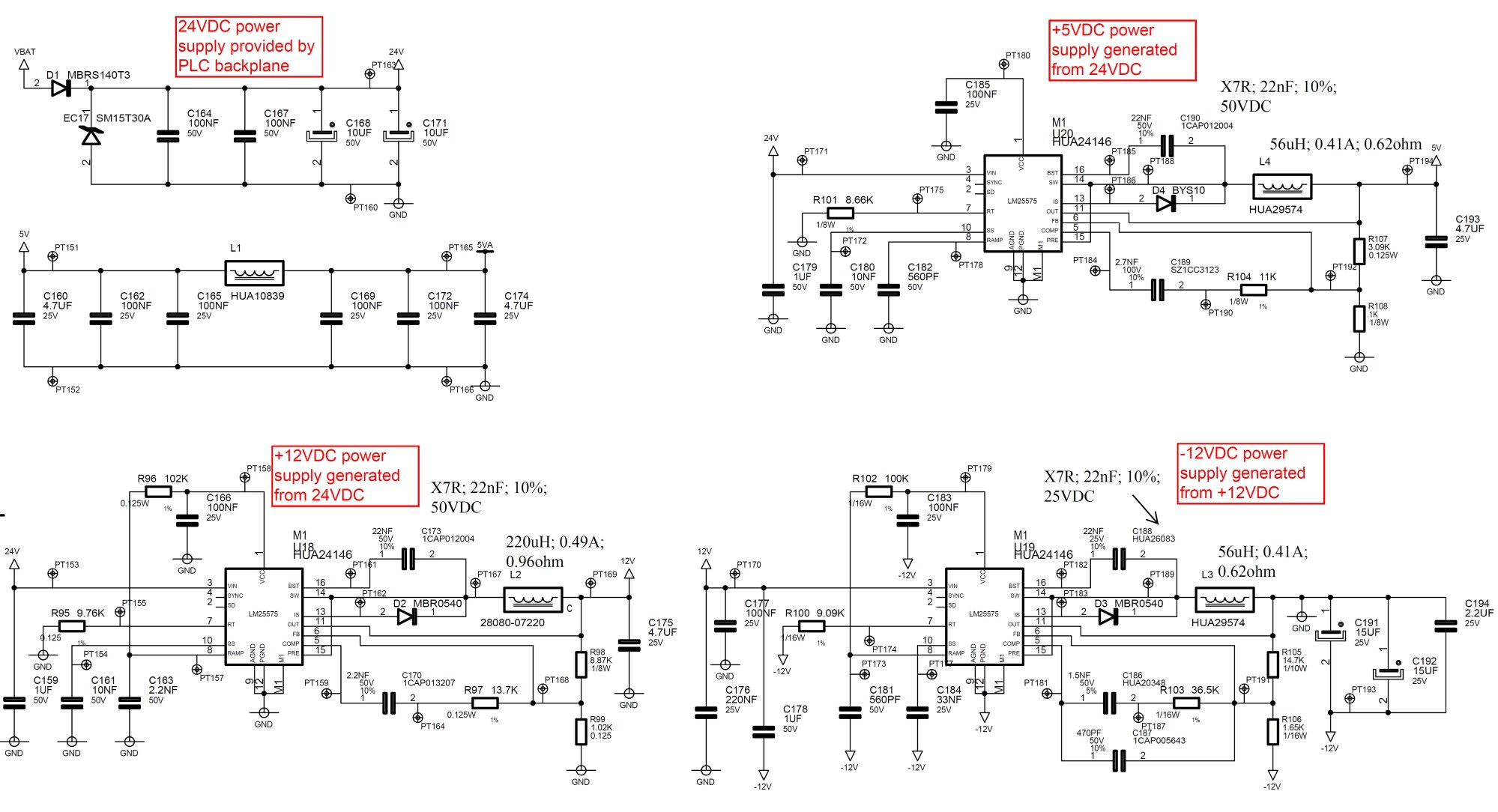 hight resolution of i have made a board using different lm25575 to manage the power supplies from a plc backplane providing 24vdc as shown herebelow