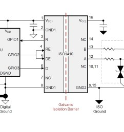 top 7 design questions about isolated rs 485 transceivers analog circuit diagram of digital isolation and termination [ 1878 x 948 Pixel ]
