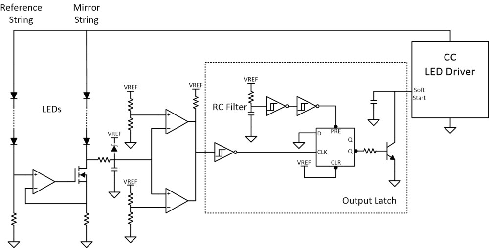 medium resolution of  the window comparator output and disable the led driver when a fault occurs the latch circuit in figure 2 uses a schmitt trigger and a d flip flop