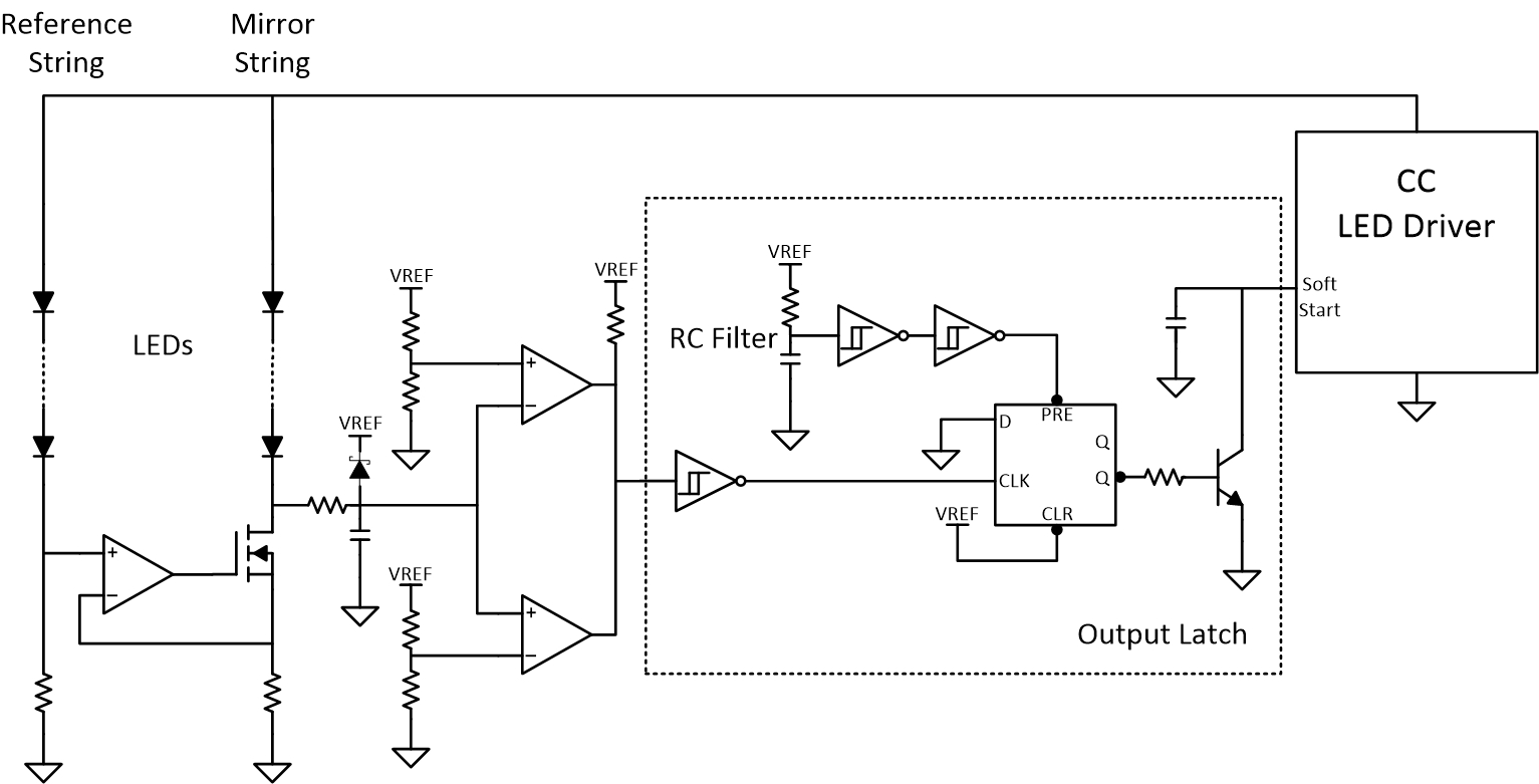 hight resolution of  the window comparator output and disable the led driver when a fault occurs the latch circuit in figure 2 uses a schmitt trigger and a d flip flop