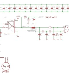 dc busbar is supplied by a 12s li ion battery so dc voltage vbat is 40 50vdc here is a part of a schematic only 1 phase of the motor  [ 1400 x 1000 Pixel ]