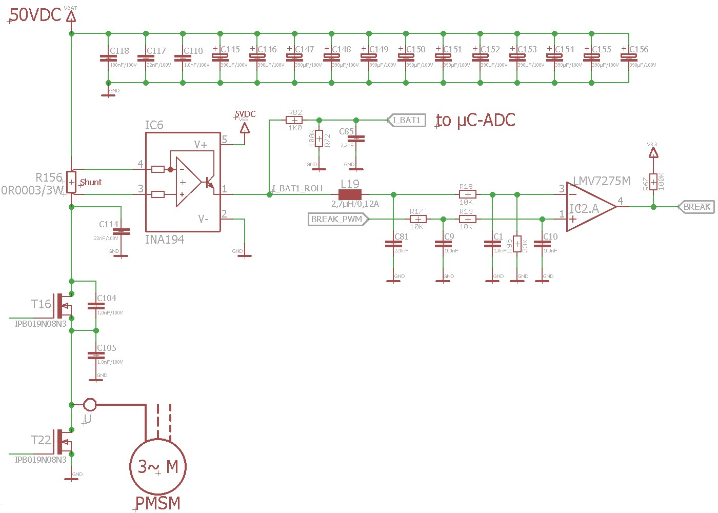 hight resolution of dc busbar is supplied by a 12s li ion battery so dc voltage vbat is 40 50vdc here is a part of a schematic only 1 phase of the motor