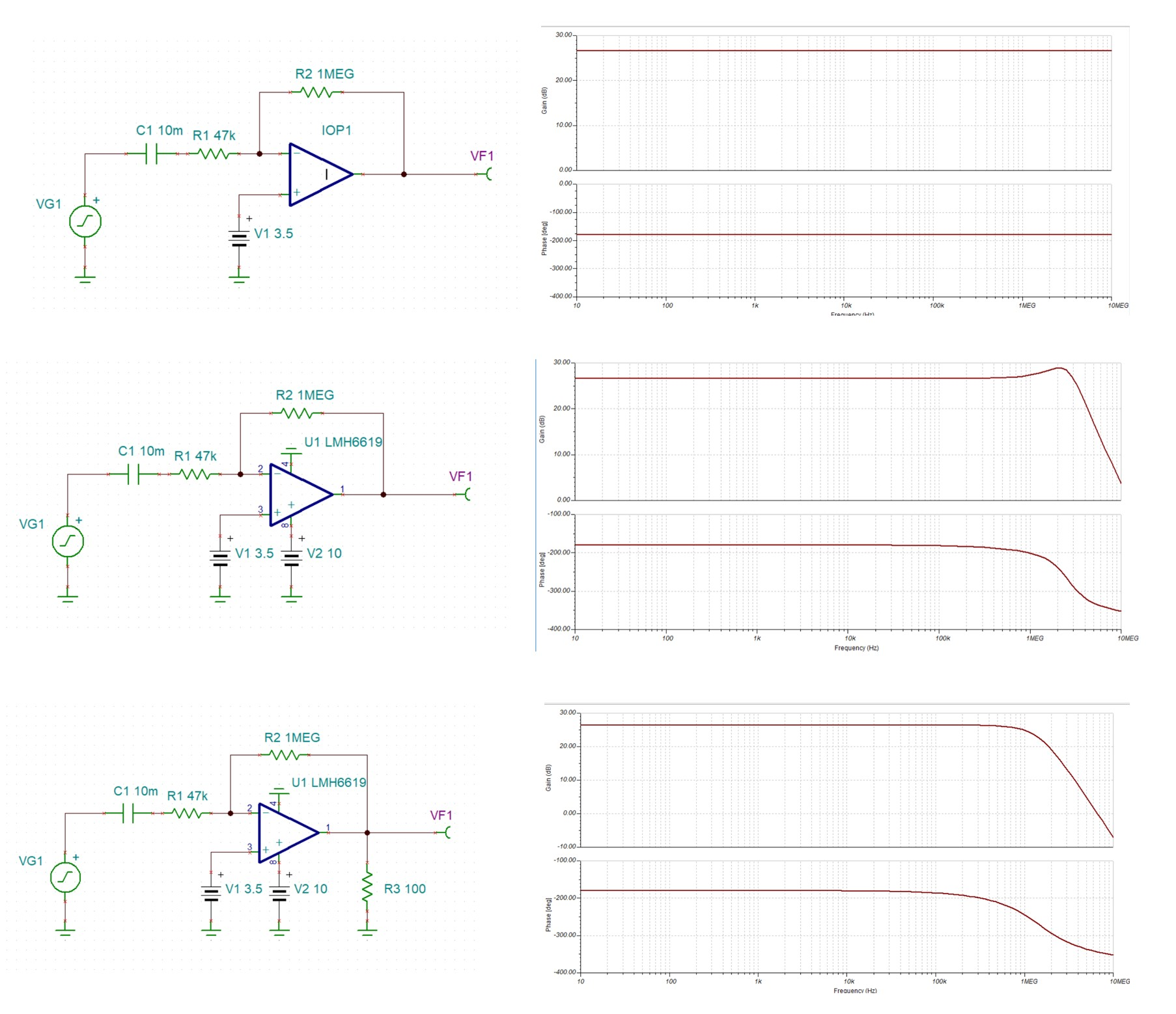 hight resolution of tina spice lmh6619 why is my simple inverted amplifier circuit not working well at high frequencies