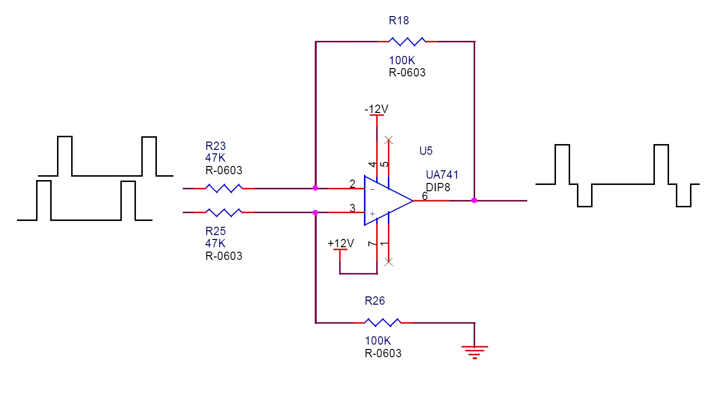 hight resolution of q3 when connect to load 50k resistor to ground the output pin 12v and 1v pulse wave is correct
