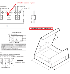 pin 1 location and provide the reel dimensions and tape and reel box dimensions information as below picture capture from other device s datasheet  [ 1270 x 760 Pixel ]