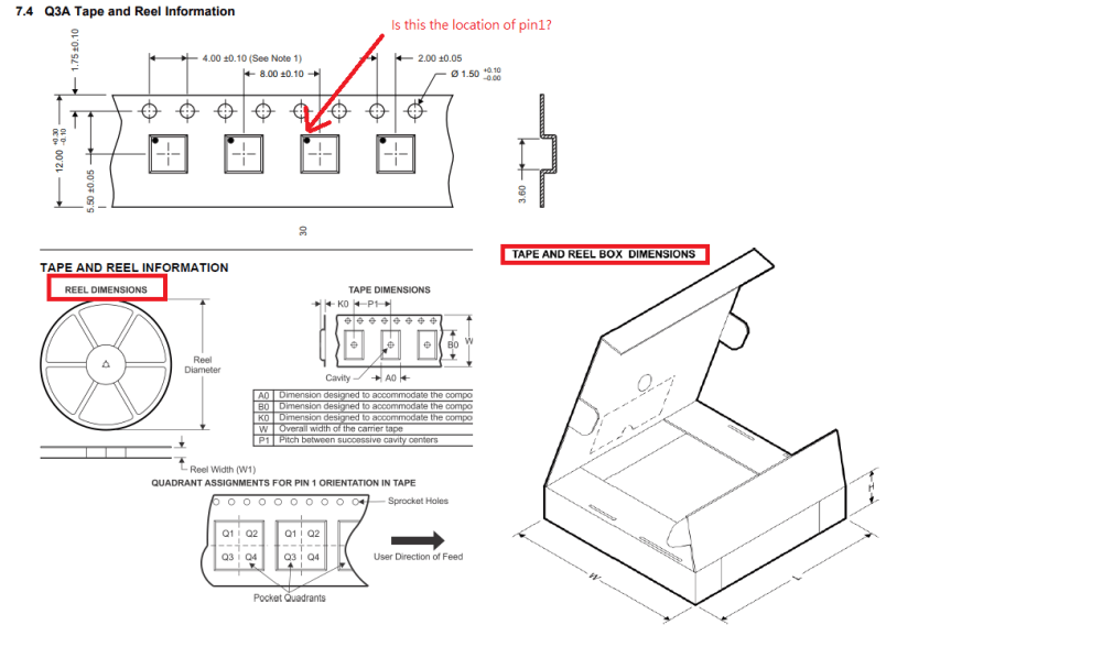 medium resolution of  pin 1 location and provide the reel dimensions and tape and reel box dimensions information as below picture capture from other device s datasheet