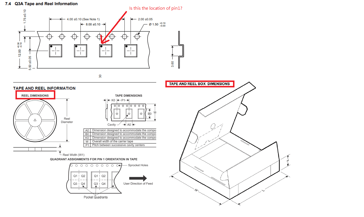 hight resolution of  pin 1 location and provide the reel dimensions and tape and reel box dimensions information as below picture capture from other device s datasheet