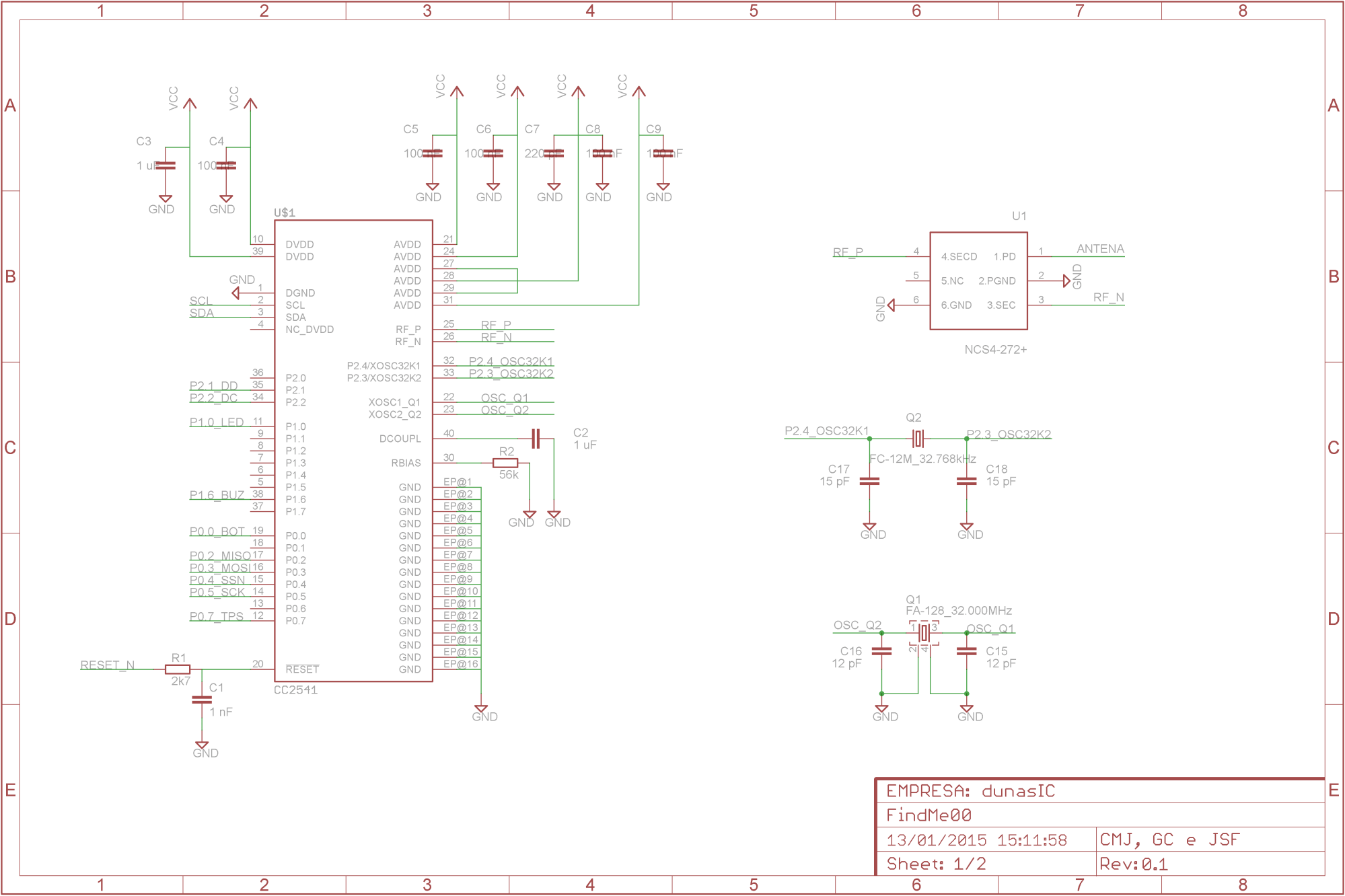 hight resolution of i followed basically the application circuit suggested on the cc2541 keyfob reference design just replacing the matching network with discrete components