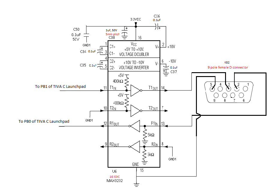 RS232 connection with TIVA C Launchpad, using MAX232A