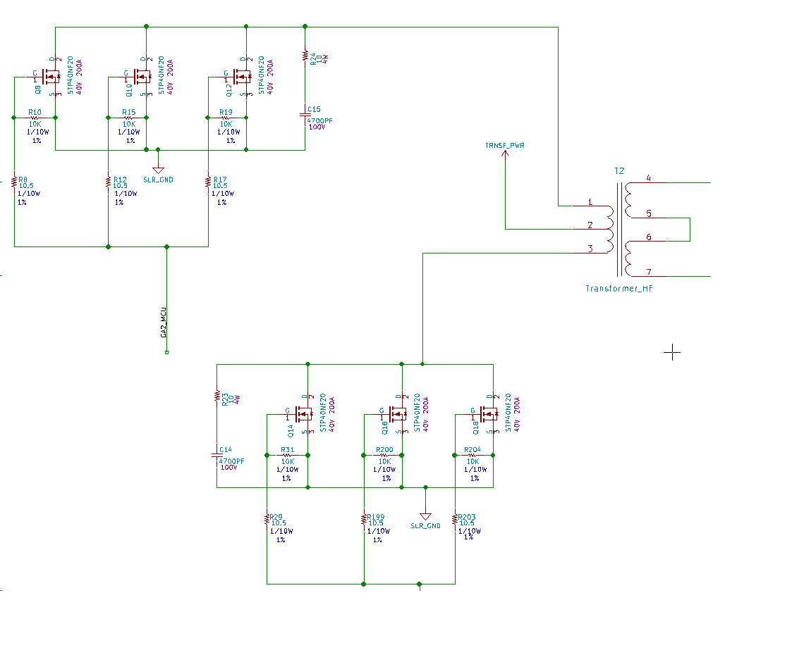 hight resolution of  trace connects all mosfets on a single line but the shape of the gate signals varies from nearest mosfet to the mosfet at the far end why is that so